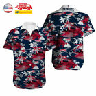 US New England Patriots Hawaiian Shirt Summer Beach Short Sleeve Button Up Shirt