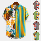 Mens Short Sleeve Floral Patchwork Shirts Casual Loose Hawaiian Beach Aloha Tops