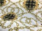 NEW Italian High Class Designer Bubble Crepe Chain Print Fabric