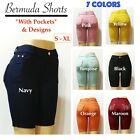 Women's Casual Pull-On Solid Color Bermuda Shorts with Pockets  Stone Design