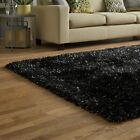 DAZZLE SPARKLE SPARKLY BLACK SILKY THICK LONG SOFT PILE GLITTER SHAGGY RUG