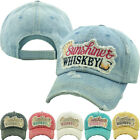 Sunshine And Whiskey Womens Factory Distressed Vintage Adjustable Hat Cap