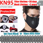 Reusable Face Mask Mouth Covers With Breathing Valve & Activated Carbon Filters