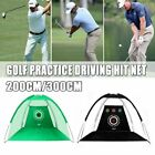 Golf Practice Driving Hit Net Cage Training Mat Aid Driver Irons with Carry Bag