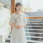 Summer New Chinese style Cotton Linen Dress Large Size Women's Embroidery Skirt