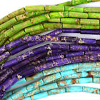 "13mm Sea Sediment Jasper Tube Beads 15.5"" Strand Sky Blue Purple Lemon Green"