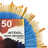 Acrylic Paint Brush Set, 5 Packs / 50 pcs Nylon Hair Brushes for All Purpose Oil