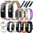 For Huawei Honor Band 5 Milanes Stainless Steel Leather Bracelet Wristband Strap