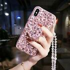 HD Film Protector + Airbag Kickstand Case Bling Diamond Cover holder necklace