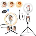 """10"""" Selfie Ring Light with Tripod Stand 3 Cell Phone Holders LED Live Streaming"""