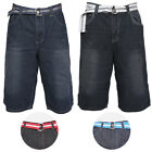 Men's Denim Casual Shorts With Pockets Pattern Belt Casual Lose Fit