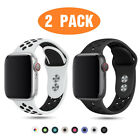 2 PACK Silicone Sport Band Strap for Apple Watch 6 5 4 3 38/40/42/44mm iWatch SE