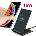US 15W Qi Wireless Charger Charging Dock Stand For iPhone 11 XS Samsung S20 S10+