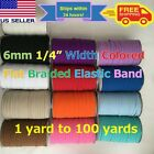 6mm 1/4 Inch Colored Flat Braided Elastic Band Cord for DIY Face Masks