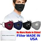 5pc Usa Filters + Cotton Cloth Face Mask Adjustable Reusable Washable Breathable