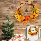 Autumn Maple Leaf Bell Pumpkin Wreath Garlands Thanksgiving Hanging Door Decors