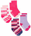 Baby Girls Socks 2 Pairs Winter Warm Soft Gripper Non Slip 2 Pack Socks UK 0-5.5