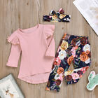 3pcs Baby Girls Infant Top Pants Headband Floral Outfits Newborn Cotton Clothes