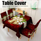 Christmas Tablecloth Chair Covers Set for Home Dining Room Festive Decoration