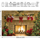 Merry Christmas Tree Backdrop Fireplace Background Photo Scene Studio Props US