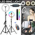 RGB LED Selfie Ring Light W/ Cell Phone Holder Stand for Live Stream and Makeup