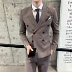 Men's Double Breasted Suit 3PCS Wedding Business Party Slim Fit Formal Leisure