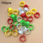 100Pcs Plastic Birds Poultry Doves Parrot Quail Pigeons Leg Foot Clip Rings Band