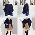 Women Full Pelt Real Rex Rabbit Fur Cape Coat Winter Warm Shawl Poncho Jacket