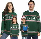 Abollria Family Matching Ugly Christmas Reindeer Snowflakes Sweater Pullover (Da