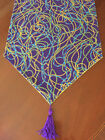 Mardi Gras Carnival Green, Gold & Blue Beads Cotton Table Runner by ThemeRunners