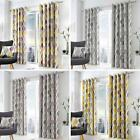 Geometric Eyelet Curtains Lennox Ready Made Lined Ring Top Curtain Pairs