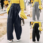 Womens Casual Striped High Waist Palazzo Trousers Loose Holiday Culottes Pants