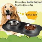 Steel Double Bowl Non Slip Small Twin Pet Cat Dog Bowl Mat  NE