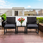 Outdoor 3 Pieces Pe Rattan Sectional Patio Furniture Set Dining Set With Table
