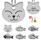 Cat Tags Personalised Fish Shape Pet Kitten Name ID Tag Stainless Steel Engraved
