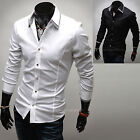 Mens Slim Fit Layered Collar Solid Business Casual Dress Shirts Tops W089 M