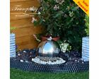 20cms Stainless Steel Sphere Modern Water Feature,Solar Powered,Outdoor Fountain