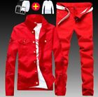 Men Denim Ripped Jeans Suit Sets Coat Jacket Slim Fit Casual Pants 2 Pcs Outwear