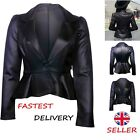 'Womens Ladies Black Leather Jacket Faux Look Fashion Coat Size 6-22