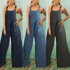 Women Casual Loose Strappy Dungaree Jumpsuit Romper Overalls Wide Leg Long Pants