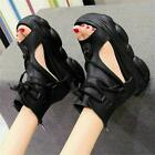 Punk Goth Women Open Toe Gladiator Sandals Platform Chunky Summer Ankle Boots