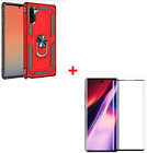 Samsung Galaxy Note 10 Case Hybrid Kickstand Flexible Glass Screen Protector RED