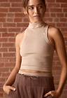 NEW Free People Movement Happiness Runs High Neck Crop Top Nude sz XS/S-M/L 40