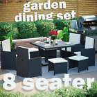 Rattan Garden Furniture 8 Seater Dining Table Chairs Cube Set Outdoor Patio