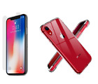 Apple X Xs Xr Case Transparent TPU Soft Silicone Glass Screen Protector IPhone