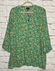 1X/2X/3X New Green Marigold Yellow White Floral Prairie Print Tunic Top Blouse