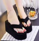 New Womens Flip Flops High Platform Wedge Heel Sandals Casual Slippers Shoes