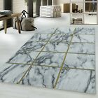 NAXOS MARBLE-LIKE SQUARED DESIGN GOLD SILVER ON WHITE SOFT QUALITY RUG