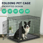 Foldable Dog Cage Puppy Pet Crate Carrier 24-48 In Small Medium Large Metal Cage