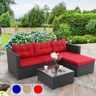3 Piece Outdoor Sectional Rattan Sofa Wicker Patio Furniture Set Blue Red Beige